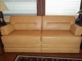 Light leather sofa rebuild. #Prevost #TradewindsCoach
