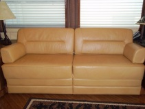 Light leather sofa rebuild. #Prevost #TradewindsCoach