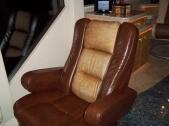 Custom-covered passenger seat. #Prevost #Millennium #TradewindsCoach