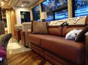 New leather sofa to match new wood flooring. #Prevost #Millennium #H345 #TradewindsCoach