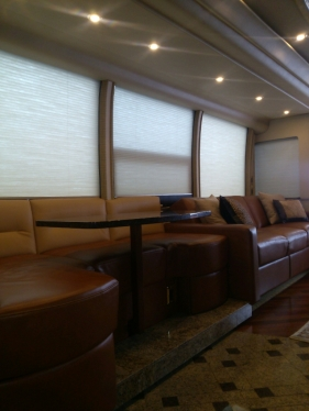 Custom-build j-lounge, sofa, granite tabletop and more for this #Prevost #Millennium. #TradewindsCoach